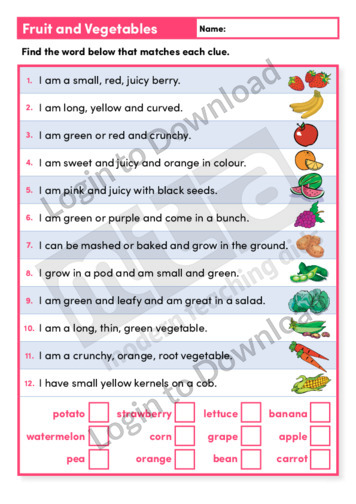 Fruit and Vegetables (Level 2)