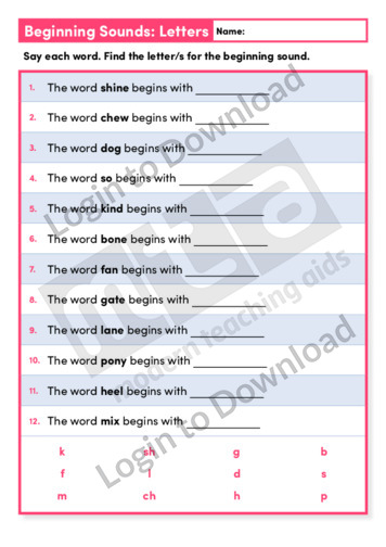 Beginning Sounds Letters 2 (Level 1)