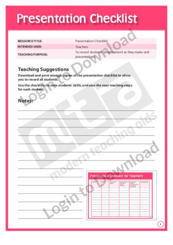 Presentation Checklist (Foundation)