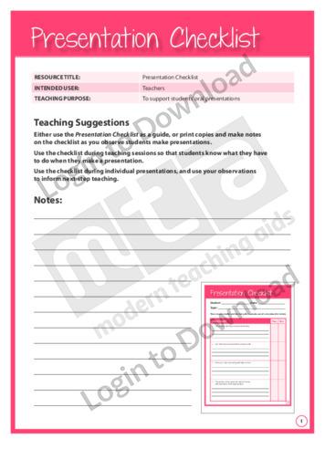 Presentation Checklist (Level 3)