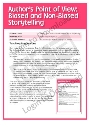 Biased and Non-Biased Storytelling