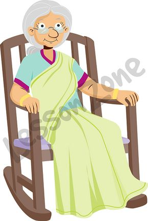 Elderly woman sitting in chair