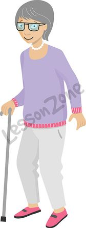 Elderly woman with walking stick