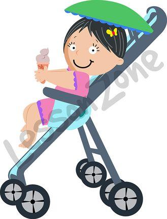 Baby girl sitting in pram