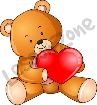 Teddy and love heart