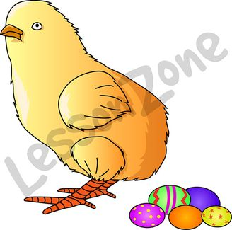 Chick with Easter eggs