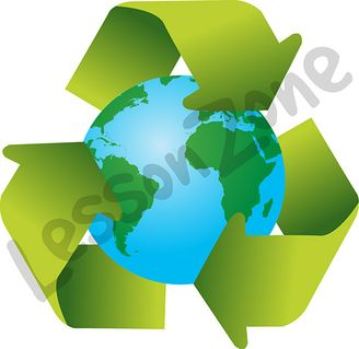 Globe and recycle symbol