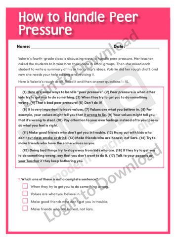 Worksheets Peer Pressure Worksheets lesson zone au worksheet how to handle peer pressure