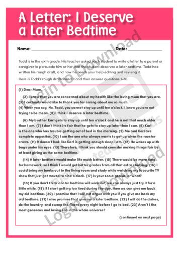 A Letter: I Deserve a Later Bedtime