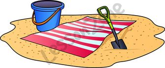 Beach towel with bucket and spade