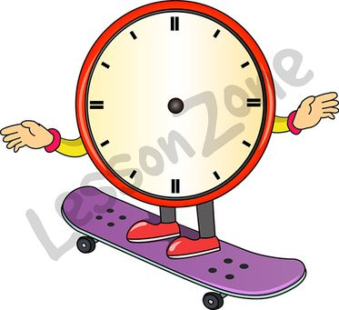 Clock face on skateboard