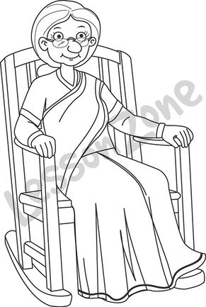 Elderly woman sitting in chair B&W