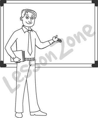 Man teacher standing B&W