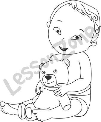 Baby boy holding teddy bear B&W