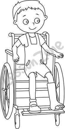 Boy in wheelchair  B&W
