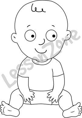 Baby boy sitting  B&W