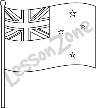 New Zealand, flag B&W