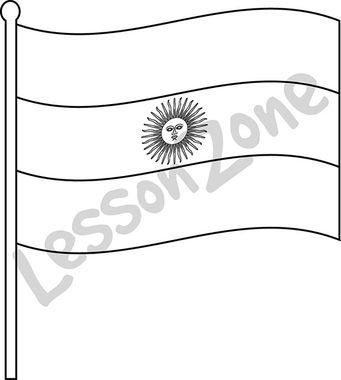 Argentina, flag B&W