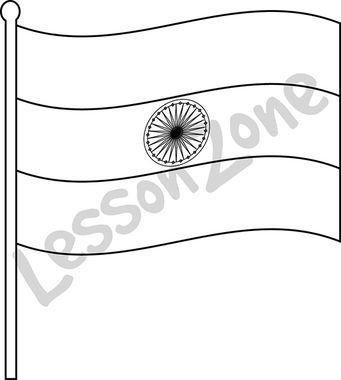 India, flag B&W
