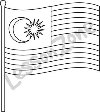 Malaysia, flag B&W