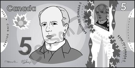 Canada, $5 note B&W