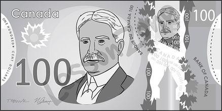 Canada, $100 note B&W
