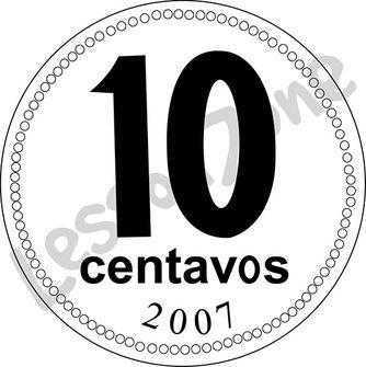 Argentina, 10c coin B&W