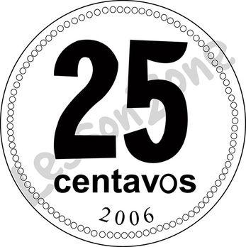 Argentina, 25c coin B&W