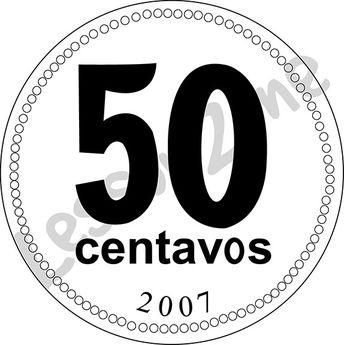 Argentina, 50c coin B&W
