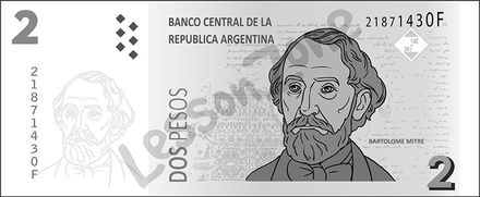 Argentina, $2 note B&W