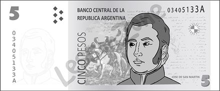 Argentina, $5 note B&W
