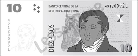 Argentina, $10 note B&W