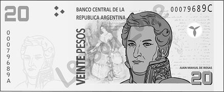 Argentina, $20 note B&W