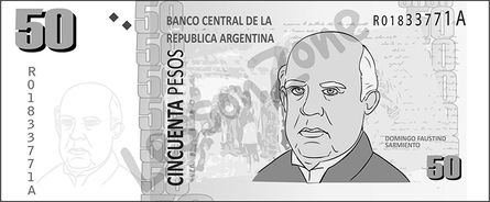 Argentina, $50 note B&W