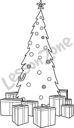 Christmas tree and presents B&W