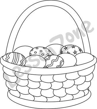 Basket of Easter eggs B&W