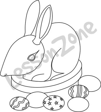 Bilby with Easter eggs B&W