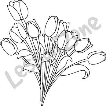 Bunch of tulips B&W