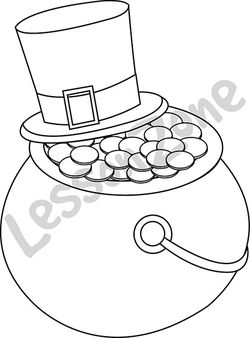 Green top hat and pot of gold B&W