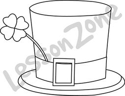 Green top hat and clovers B&W