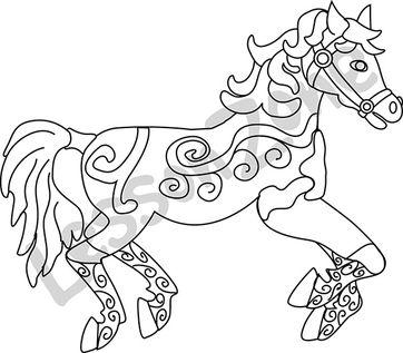 Carnival horse B&W