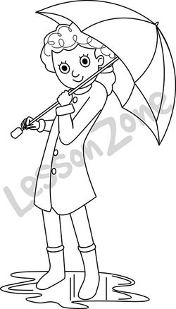 Girl with umbrella B&W