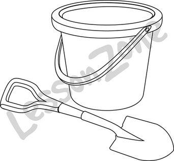 Bucket and spade B&W