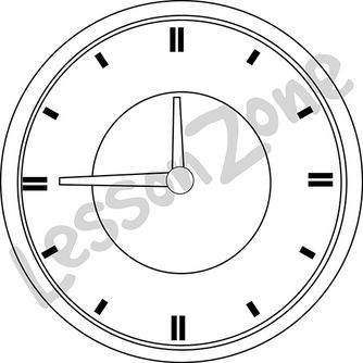Clock face 3/4 hour B&W