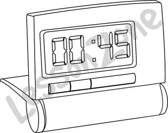 Digital clock face 3/4 hour B&W