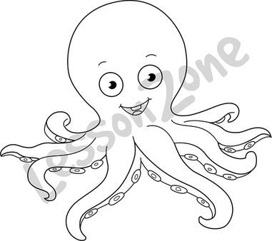 Cute Octopus Clipart Black And White