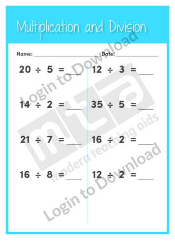 Multiplication and Division 1