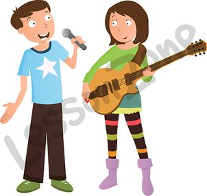 Boy singing and girl playing guitar