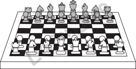 Chessboard with chess pieces B&W