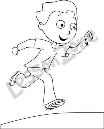 Boy running B&W